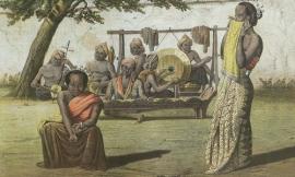Lukisan-dua-penari-ronggeng-dengan-orkestra-gamelan-1854.